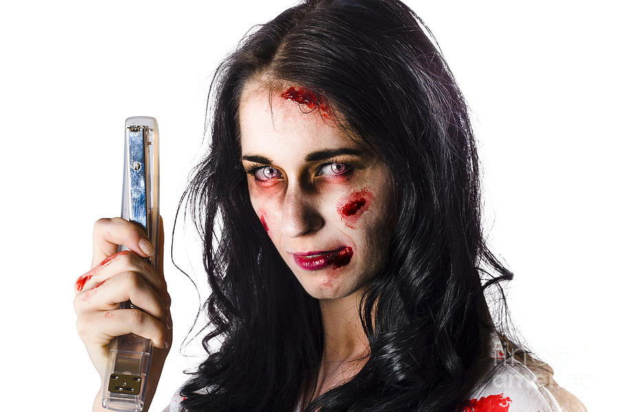 Zombie Woman With Stapler Photograph
