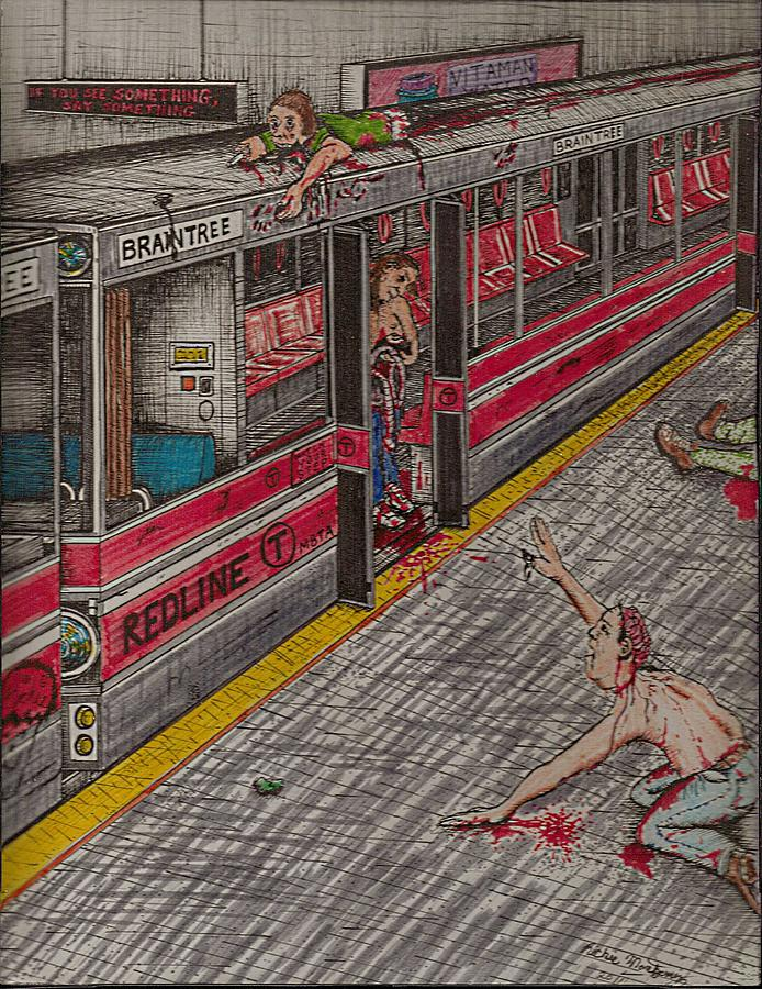 Zombies On The Red Line Painting