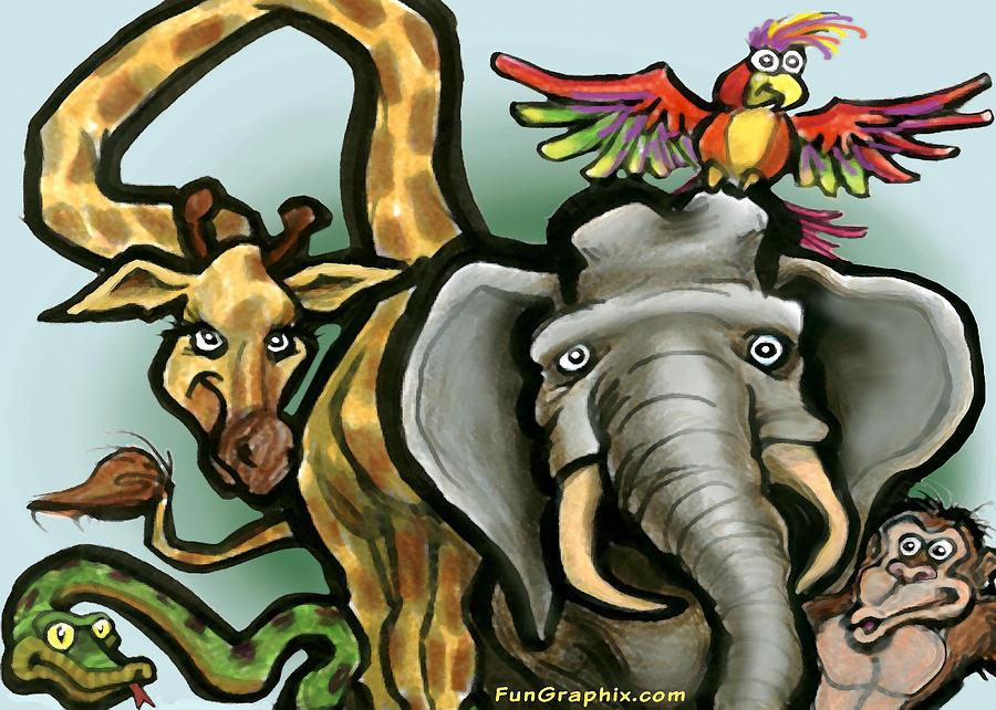 Zoo Animals Digital Art