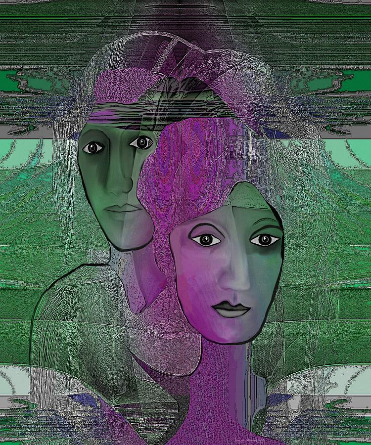 300 - Couple Purple - Green Digital Art