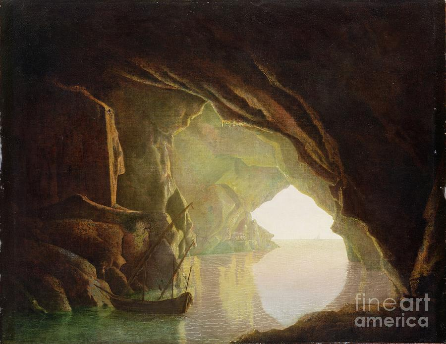 A Grotto In The Gulf Of Salerno - Sunset Painting  -  A Grotto In The Gulf Of Salerno - Sunset Fine Art Print