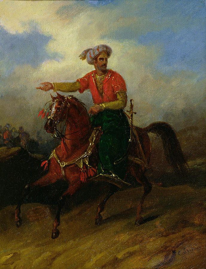 Ottoman Painting -  An Ottoman On Horseback  by Charles Bellier