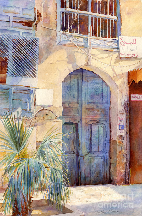 Blue Door  Painting  -  Blue Door  Fine Art Print