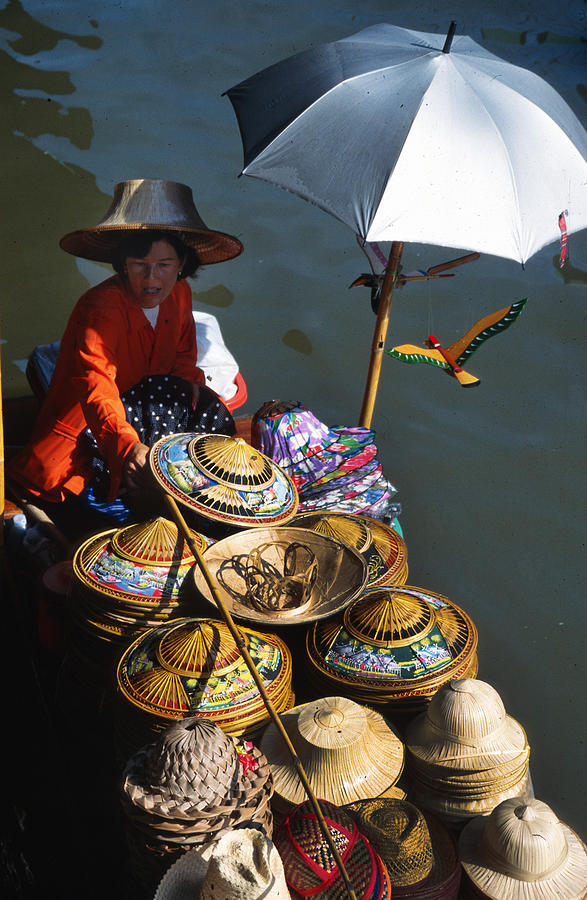 Boat Woman In Thailand Photograph  -  Boat Woman In Thailand Fine Art Print