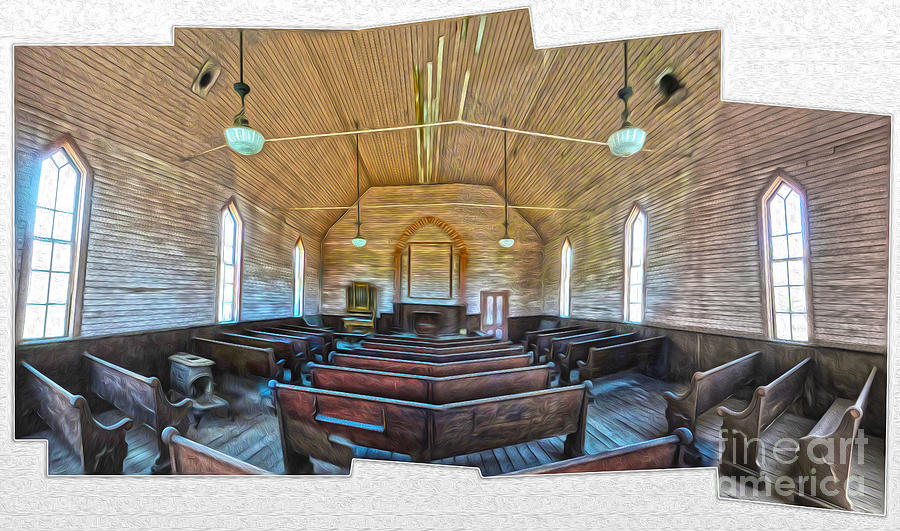 Bodie Ghost Town - Church 03 Painting  -  Bodie Ghost Town - Church 03 Fine Art Print
