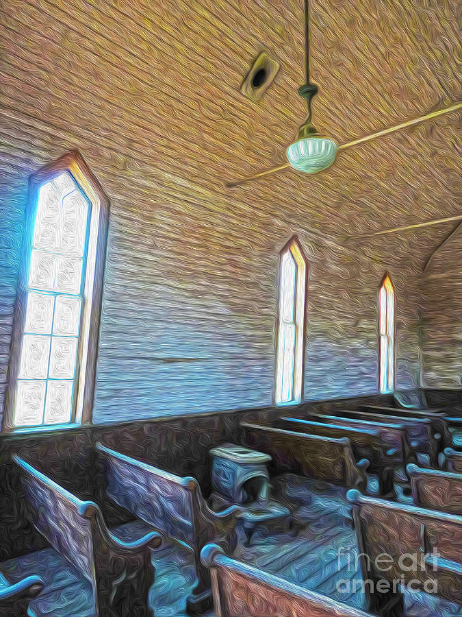 Bodie Ghost Town Painting -  Bodie Ghost Town - Church 05 by Gregory Dyer
