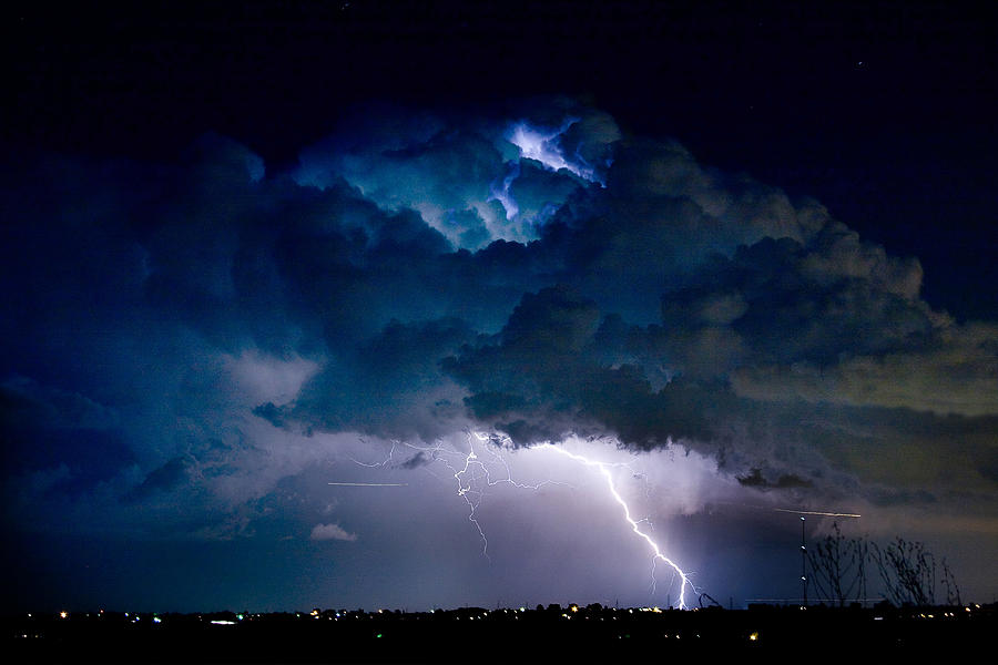 Clouds Of Light Lightning Striking Boulder County Colorado Photograph