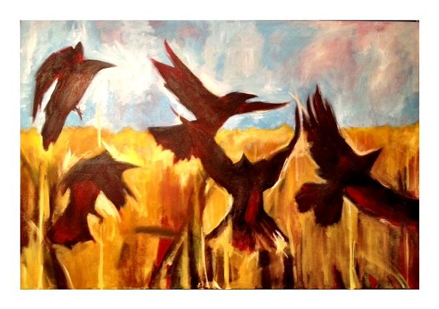 Crows In Flight Painti...