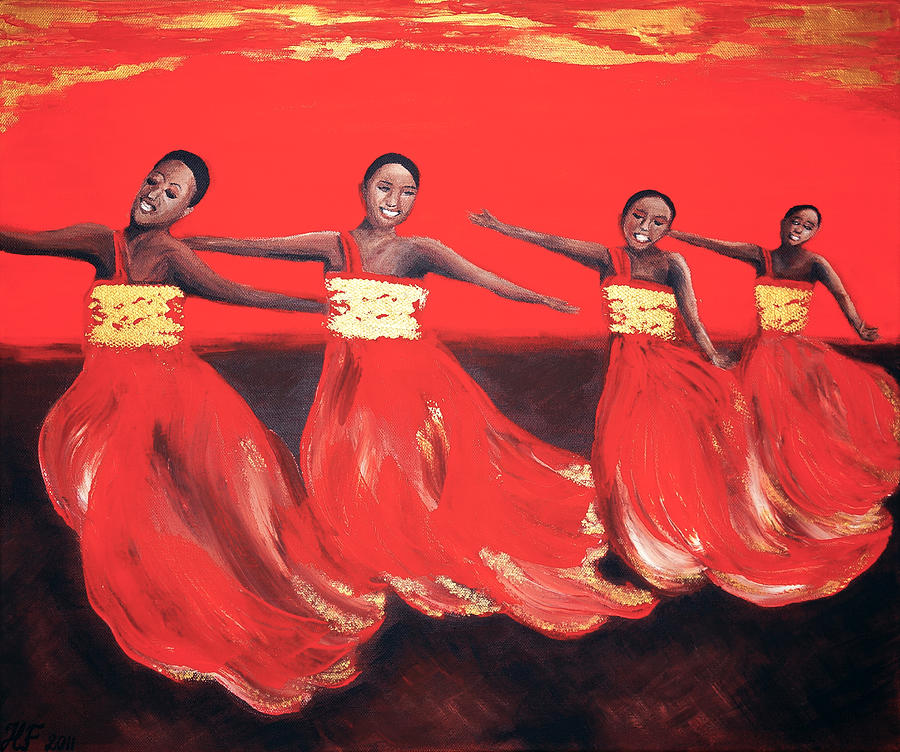 Dancing Women Painting  -  Dancing Women Fine Art Print