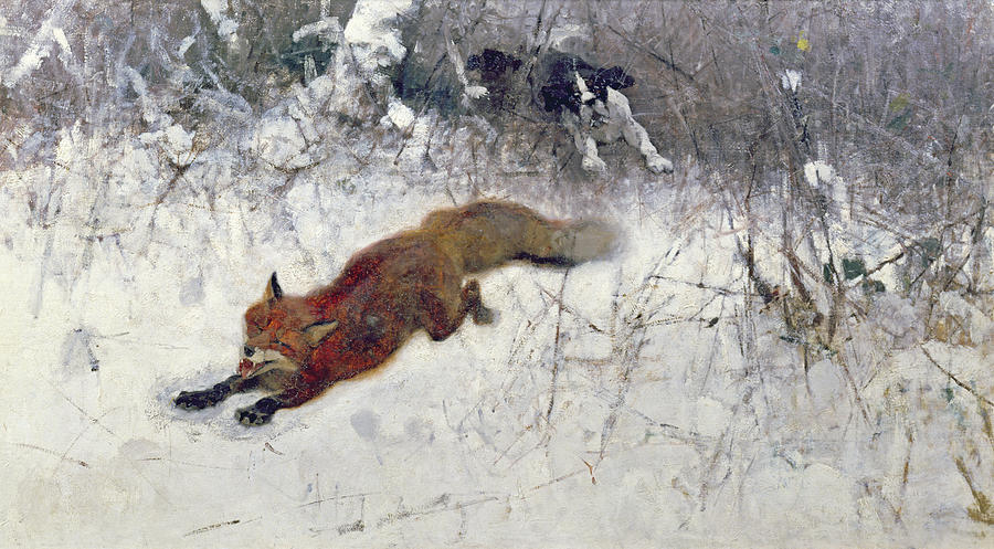 Fox Being Chased Through The Snow  Painting