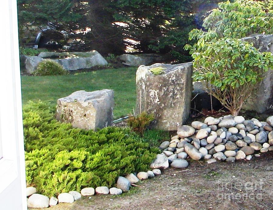 Green rock garden photograph for Big garden rocks for sale