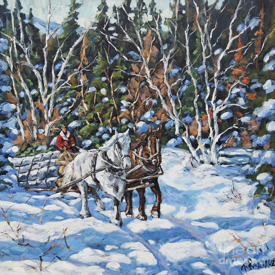 Horses Hauling Wood In Winter By Prankearts Painting  -  Horses Hauling Wood In Winter By Prankearts Fine Art Print