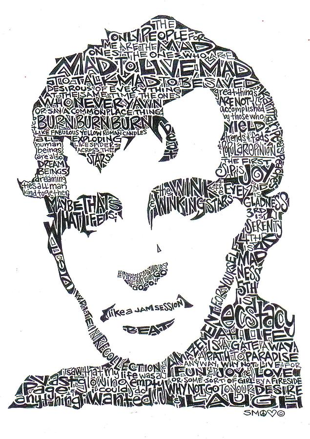 Jack Kerouac Black And White Word Portrait Drawing  -  Jack Kerouac Black And White Word Portrait Fine Art Print