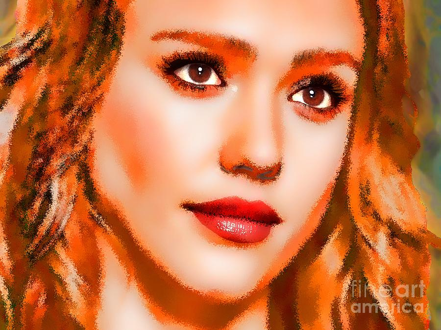Jessica Alba Portrait A Digital Art