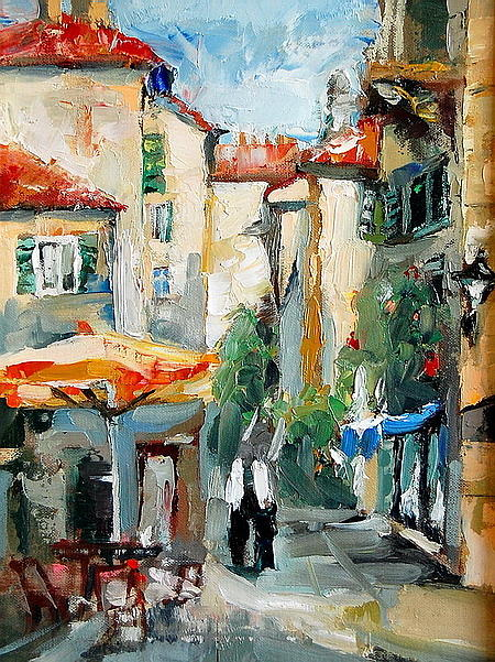 Streetscape Painting -  Kotor Old Town by Joe Tiszai