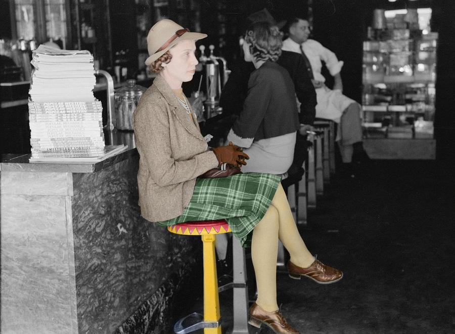 Soda Fountain Photograph -  Lady In A Diner by Andrew Fare