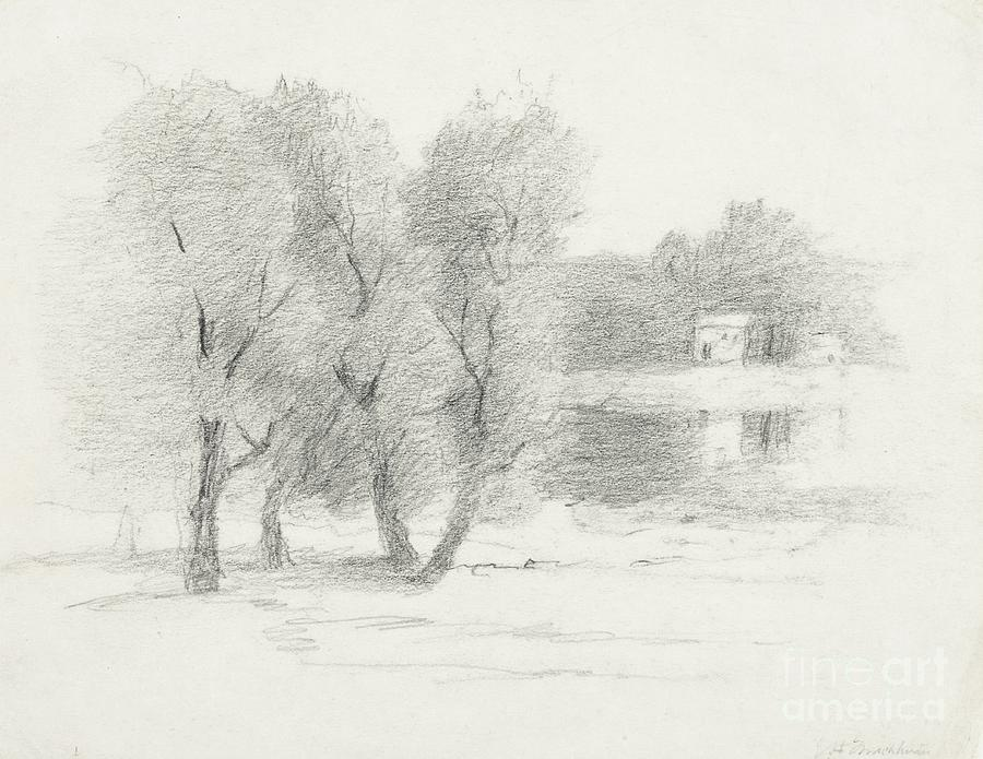 Landscape - Late 19th-early 20th Century Drawing  -  Landscape - Late 19th-early 20th Century Fine Art Print