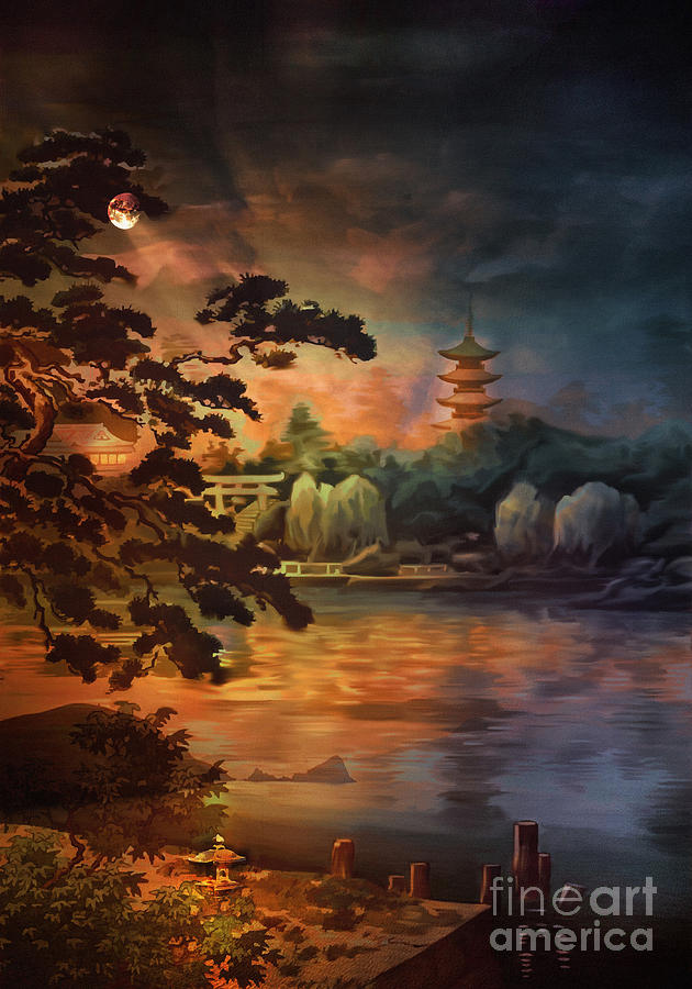 Magic Of Japanese Gardens. Digital Art  -  Magic Of Japanese Gardens. Fine Art Print