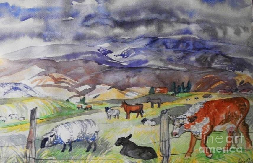 The Day The Challenger Fell Apart I Painted This Plin Air Of Mixed Farm Animals In The Early Spring Digital Art -  Mixed Farm Animals Graze In Field by Annie Gibbons