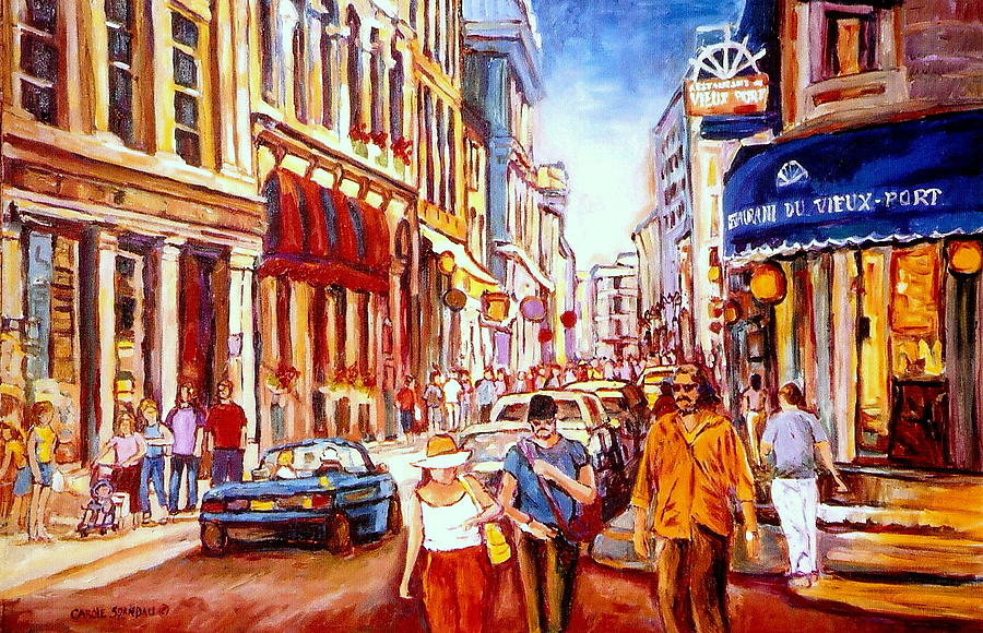 Old montreal paintings restaurant du vieux port rue st paul montreal street scene painting by - Restaurants old port montreal ...