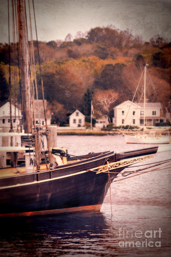 Old Ship Docked On The River Photograph