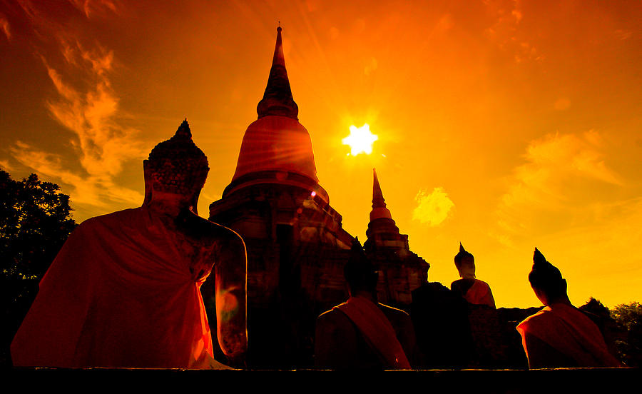 Old Temple Wat Yai Chai Mongkhon Of Ayuthaya Province Thailand Photograph by ...