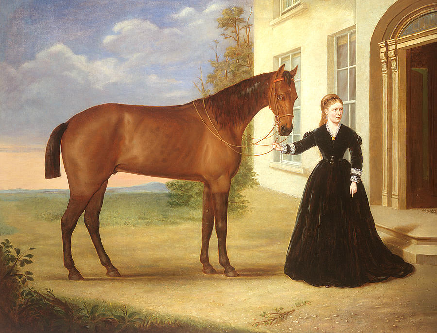 Portrait Of A Lady With Her Horse Painting  -  Portrait Of A Lady With Her Horse Fine Art Print