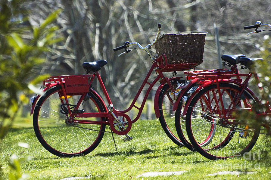 Red Bicycle In The Country Photograph