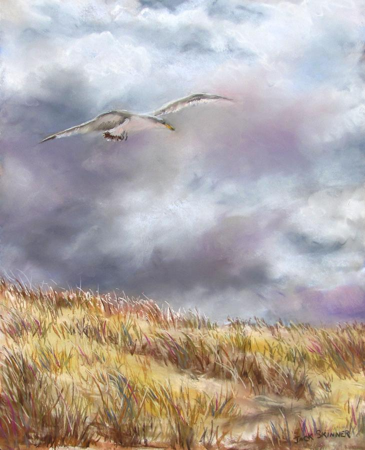 Seagull Flying Over Dunes Painting  -  Seagull Flying Over Dunes Fine Art Print