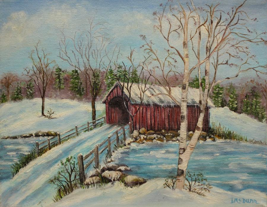 Snow Covered Bridge Painting  -  Snow Covered Bridge Fine Art Print