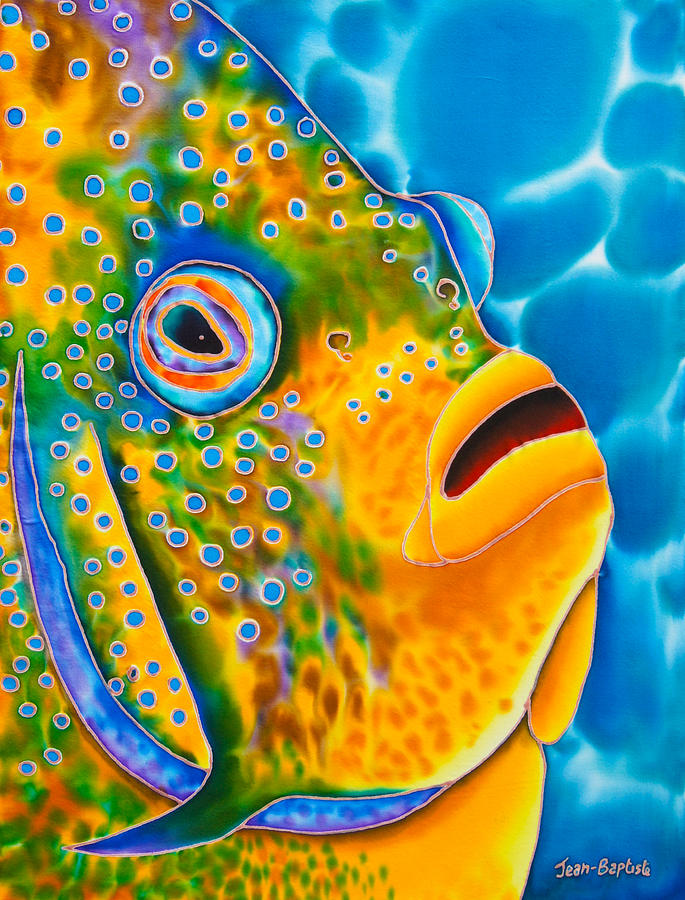 Spotted Angelfish Painting  -  Spotted Angelfish Fine Art Print