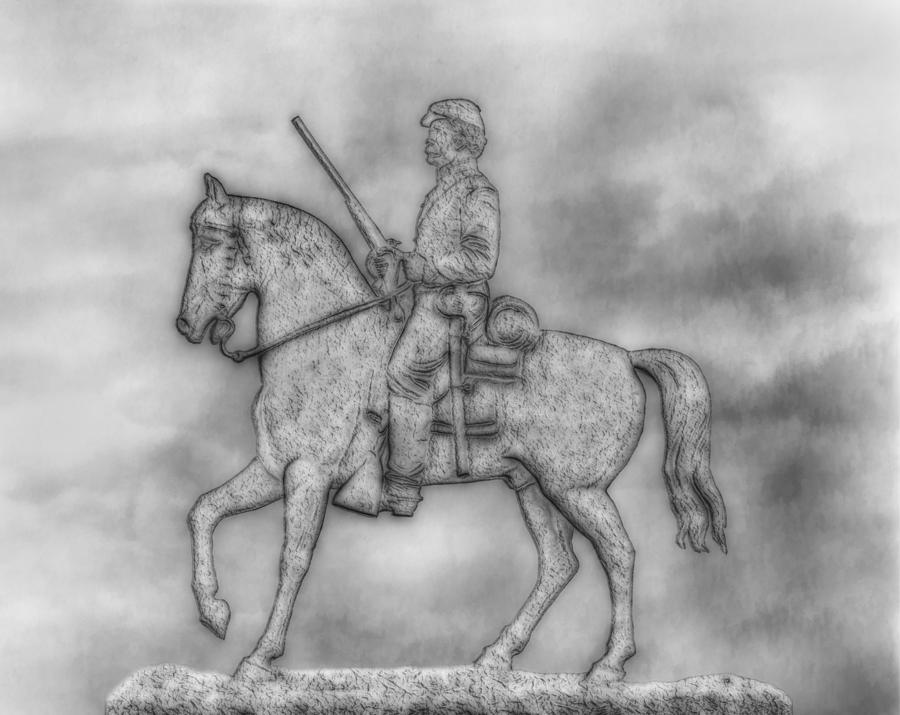 Stone Sentinel Gettysburg Battlefield Sketch Digital Art