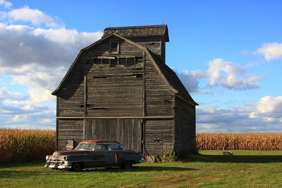 Vintage Cadillac And Barn Photograph