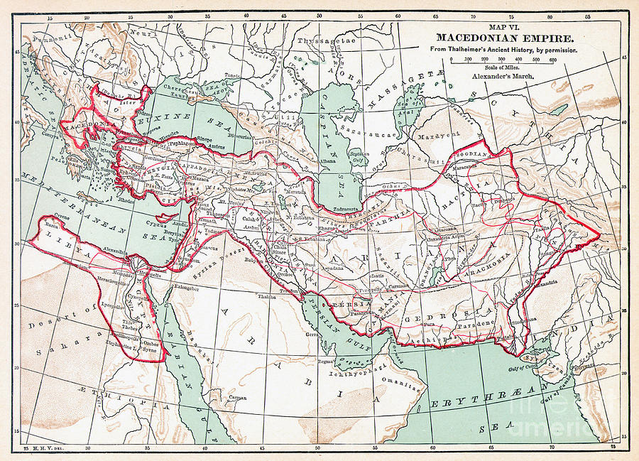 Map Of Macedonian Empire Painting