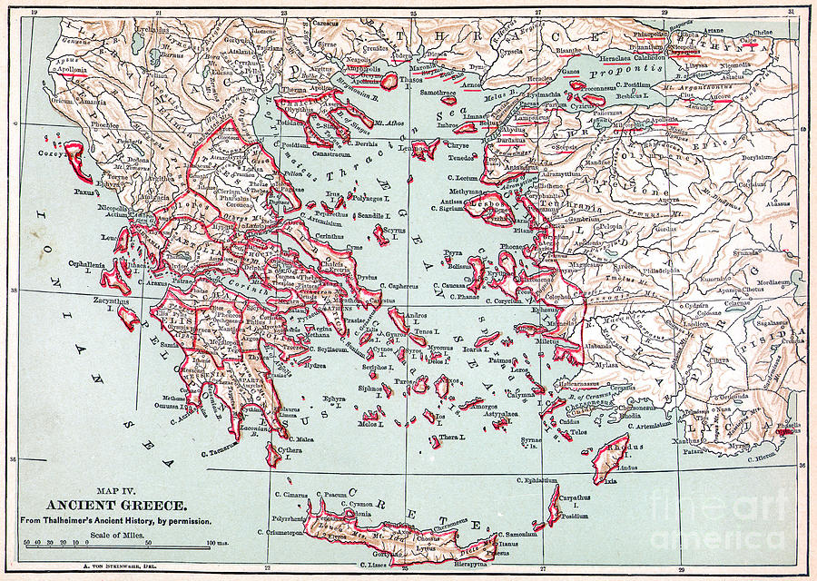 Map: Ancient Greece Painting  - Map: Ancient Greece Fine Art Print
