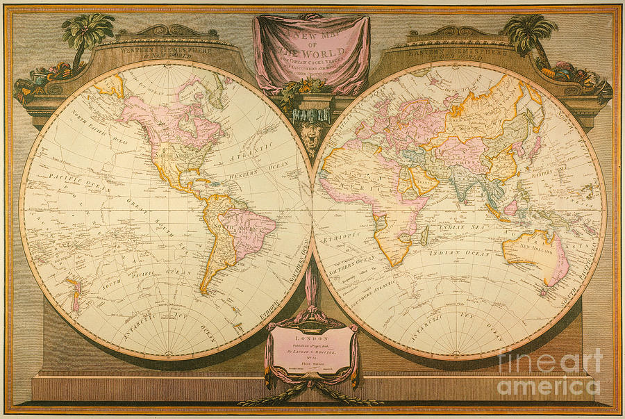 Captain Cook: Map, 1808 Painting  - Captain Cook: Map, 1808 Fine Art Print