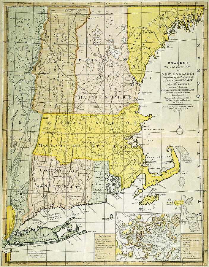 New England Map, C1775 Painting