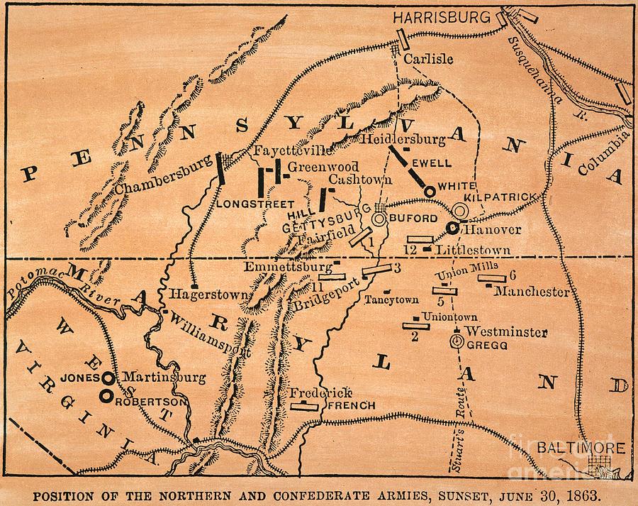 Battle Of Gettysburg, 1863 Painting