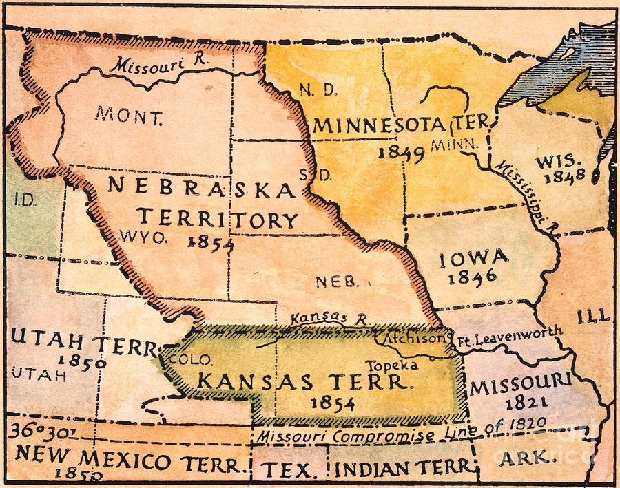 Kansas-nebraska Map, 1854 Painting  - Kansas-nebraska Map, 1854 Fine Art Print