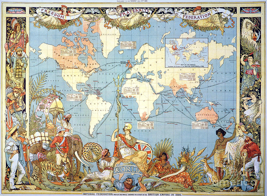 Map: British Empire, 1886 Painting  - Map: British Empire, 1886 Fine Art Print