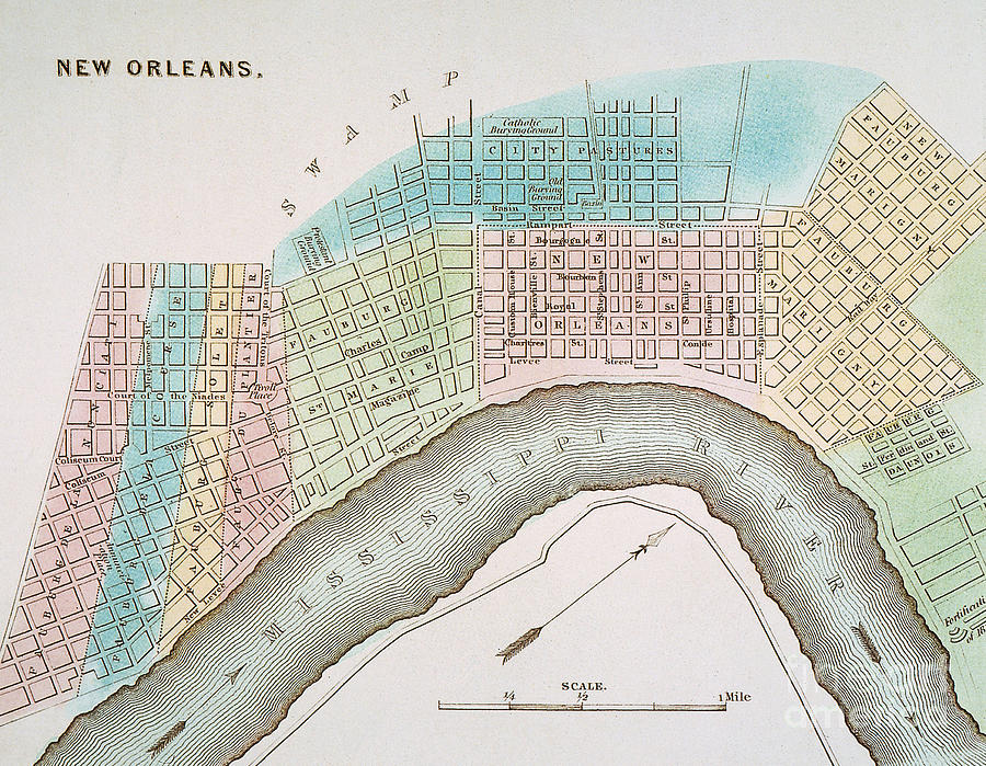 New Orleans Map, 1837 Painting  - New Orleans Map, 1837 Fine Art Print