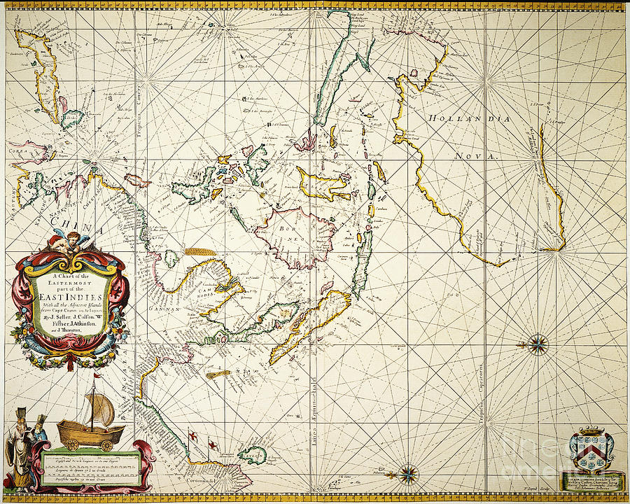 Map: East Indies, 1670 Painting