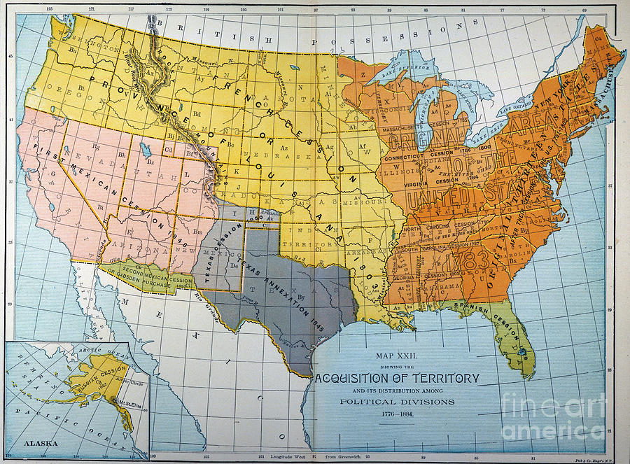 U.s. Map, 1776/1884 Painting  - U.s. Map, 1776/1884 Fine Art Print