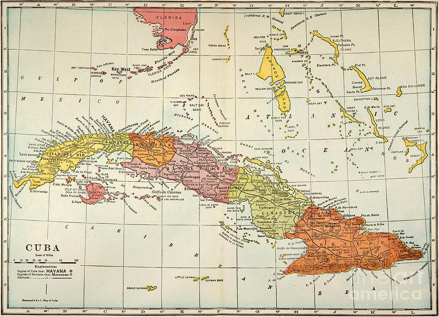 Map: Cuba, 1900 Painting