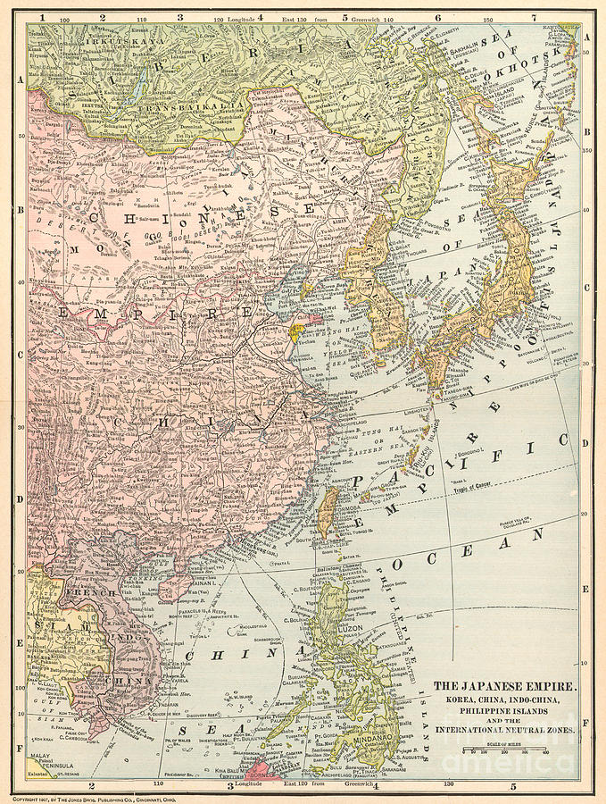 Map: East Asia, 1907 Painting  - Map: East Asia, 1907 Fine Art Print