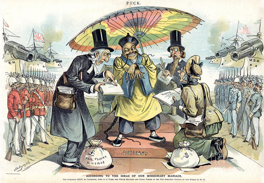 Missionary Cartoon, 1895 Painting  - Missionary Cartoon, 1895 Fine Art Print