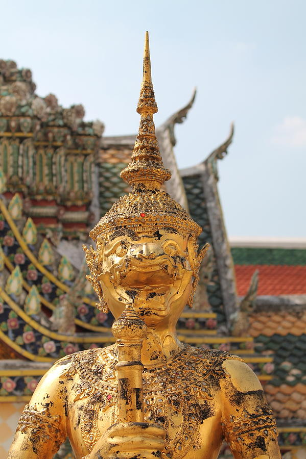 Demon Guardian Statues At Wat Phra Kaew Sculpture  -  Demon Guardian Statues At Wat Phra Kaew Fine Art Print