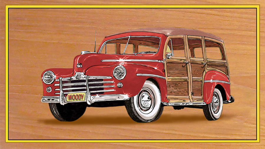 1946 Ford Woody Painting  - 1946 Ford Woody Fine Art Print