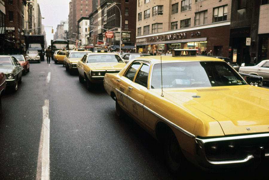 1970s America. Yellow Taxi Cabs Photograph