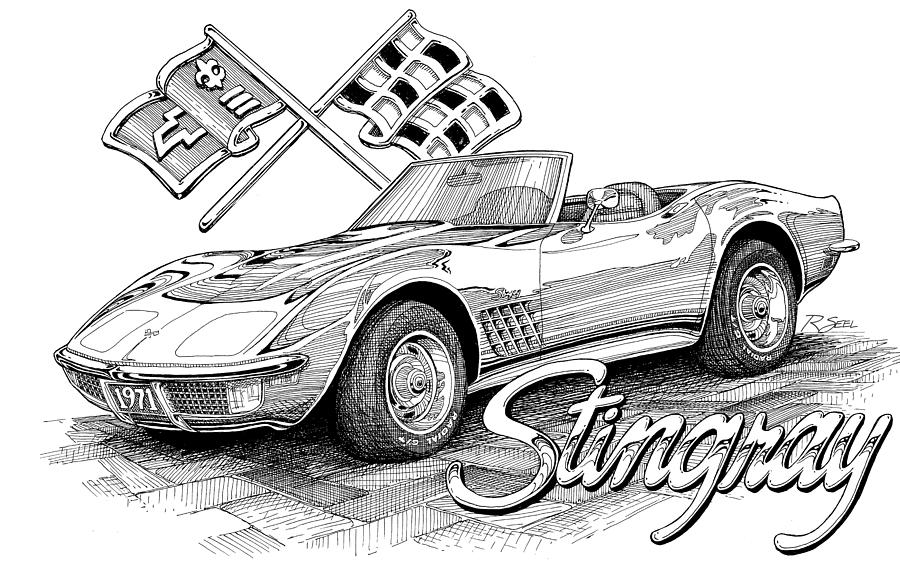 1972 Corvette Drawing  - 1972 Corvette Fine Art Print